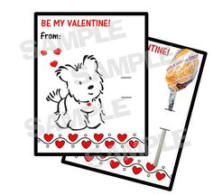 American Girl COCONUT Dog Valentine Cards holds by myhtmdesigns, $8.99
