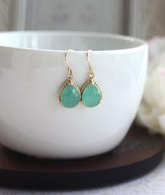 Mint Pear Glass Framed French Drop Earrings.  Modern Everyday. Wedding Bridal Bridesmaids Earrings