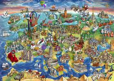 European World Wonders Illustrated Map Painting