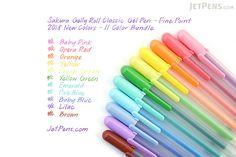 Sakura Gelly Roll Classic Gel Pen - Fine Point - 2018 New Colors - 11 Color Bundle - JETPENS SAKURA XPGB BUNDLE Gel Ink Pens, Jet Pens, Stationery Pens, School Supplies, Art Supplies, Lilac, Pink, Baby Blue, Classic