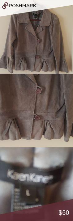 Karen Kane Suede Jacket Grey suede jacket 3/4 length sleeves fits at waist Karen Kane Jackets & Coats