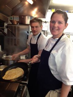 Flipping pancakes at Belle House, Pershore www.belle-house.co.uk