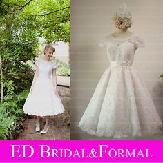 Cheap tea length wedding dresses, Buy Quality wedding dress directly from China wedding dress style Suppliers: Vintage Style Lace Tea Length Wedding Dress With Cap Sleeves Real Sample Wedding Gown Retro Wedding Dresses, Bridal Dresses, Wedding Gowns, Backless Wedding, Tea Length Wedding Dress, Tea Length Dresses, Corpse Bride Wedding, Bridal And Formal, 1950s Fashion