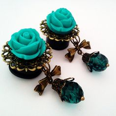 I DIE! I want these so bad! 5/8 inch 16mmTeal Rose Dangly Plugs for Stretched by Glamsquared, $31.00