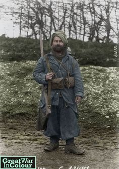 A French soldier poses in the Argonne forest, circa 1915. Original image source: Bibliotheque nationale de France