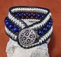 Blue Lapis & Sterling Silver Leather Cuff Bracelet