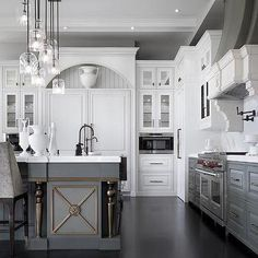 Splendid cool White Upper Cabinets and Gray Lower Cabinets with Gray Kitchen Island… by cool-homedecor.to… The post cool White Upper Cabinets and Gray Lower Cabinets with Gray Kitchen Island… . Grey Kitchen, Kitchen Cabinet Design, Kitchen Cabinets Makeover, Gray And White Kitchen, Grey Kitchen Island, Modern Kitchen, Home Kitchens, Upper Cabinets, Kitchen Design