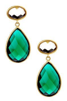 Rivka Friedman  18K Gold Clad Round Golden Olive Crystal Post & Emerald Crystal Teardrop Dangle Earrings