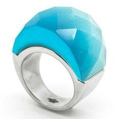 79358c127a64 Joyas de Acero-Anillos-RA0756K. Anillo acero con cristal facetado color  turquesa