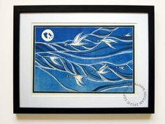 Items similar to GOOSE SKEIN lino print lino cut bird geese sky moon on Etsy Sky Moon, Flying Geese, Dark Colors, Printmaking, Bird, The Originals, Create, Artwork, Artist