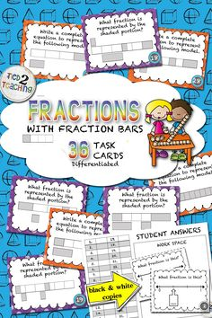 Fractions with Fraction Bars Task Cards for the Middle Grades provides an excellent way for students to think deeply and critically while continuing to extend their mathematical reasoning and fractional understanding.