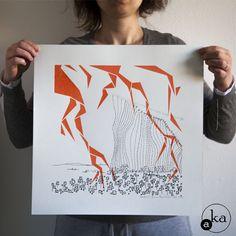 Nature, sérigraphie sur papier de l'atelier Aka