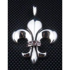 Red Garnet Fleur De Lis Sterling Silver Pendant ~New