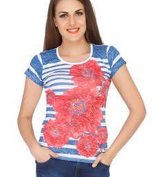 Buy Blue viscose spandex jersey tops top online
