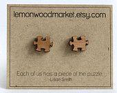 Boucles d'oreilles bois coupés au laser puzzle Boucles d'oreilles - aulne
