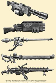 "Rogue Trader RPG Hostile Acquisitions Sourcebook Ranged Weapons. Footfall Pattern Shotlas. Lathe-Pattern Boarding Shotgun. Eldar Firedragon-Exarch ""Firepike"". Scorpion Chainsword. Dark Eldar Splinter-Cannon."