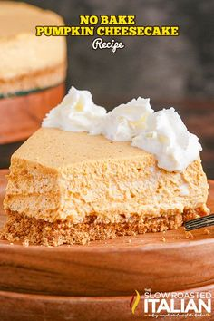 This no bake pumpkin cheesecake is silky smooth and captures your favorite fall flavors. Prep it in 20 minutes, then chill overnight to set! Pumpkin Trifle, No Bake Pumpkin Cheesecake, Pumpkin Pecan Pie, Pumpkin Pie Recipes, Baked Pumpkin, Pumpkin Dessert, Pumpkin Spice, Finger Food Desserts, Easy Desserts
