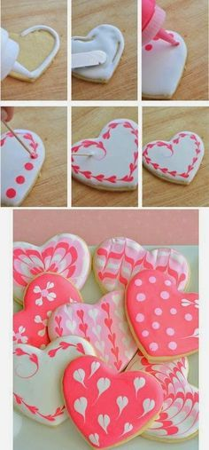 Sugar Cookie Hearts with EASY Royal Icing - Heart, heart biscuits for Mother& Day, Valentine& Day or Father& Day quickly and - Galletas Cookies, Iced Cookies, Royal Icing Cookies, Cookies Et Biscuits, Cupcake Cookies, Cookie Favors, Baby Cookies, Flower Cookies, Easter Cookies