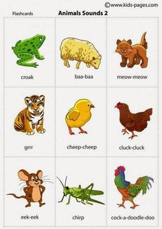 Kids Pages - Animals Sounds 2 Kids English, English Words, English Lessons, Learn English, English Language, Animal Worksheets, Preschool Worksheets, Preschool Activities, Teaching Kids