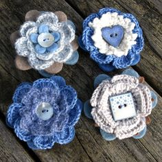 Forget Me Not Crochet flowers with buttons.