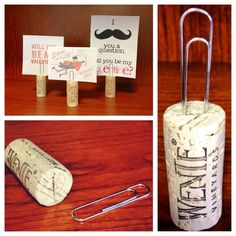 DIY - name card holder from wine corks and a paper clip. Porta cartas con corchos de vino / Re-purpose wine corks into place card holders Wine Craft, Wine Cork Crafts, Wine Bottle Crafts, Wine Tasting Party, Wine Parties, Diy And Crafts, Crafts For Kids, Fall Crafts, Quick Crafts