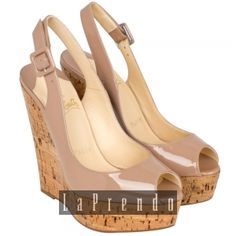 CHRISTIAN LOUBOUTIN  Christian Louboutin Une Plume 140 Patent Leather and Cork Wedges  3110355 UNE PLUME SLING  SGD$620.00