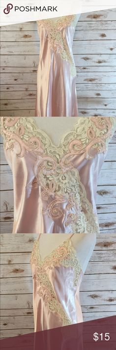 """🌸💕Vintage Pink Slip Nightgown 💕🌸 Beautiful 90s pink slip Nightgown. Tag size Small. 100% Polyester in good condition with a few small pulls and small spots. Really pretty beading and lace front so romantic! Measurements as follows. Bust: 34"""" Waist: 34"""" Hips: 38"""" Total length: 47"""" has adjustable straps. Please feel free to ask any questions! Intimates & Sleepwear Chemises & Slips"""
