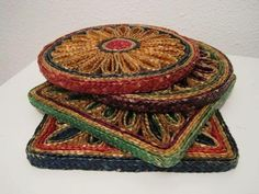 Remember these coasters? I don't, but there were trivets like these that we had.