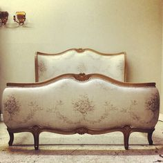 Reupholstered French Corbeille bed / Kate Forman fabric / Frenchfinds.co.uk