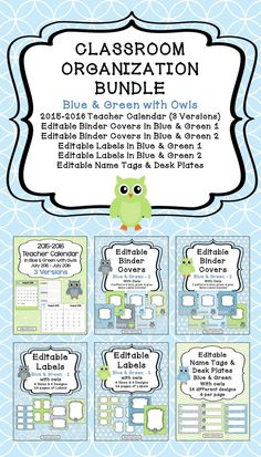 This bundle contains: 2015-2016 Teacher Calendar (3 Versions), Editable Binder Covers in Blue & Green 1, Editable Binder Covers in Blue & Green 2, Editable Labels in Blue & Green 1, Editable Labels in Blue & Green 2, and Editable Name Tags & Desk Plates. The calendar will be updated annually. When you purchase this calendar, you will automatically be able to download future calendars for FREE.