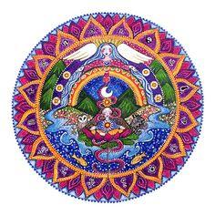 Crown Chakra Mandala art print 7th chakra by LindyLonghurst, $18.00