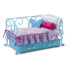 American Girl Doll Curlicue Trundle Bed For Retired Furniture Blue