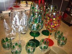 Mainly christmas theme hand painted original wine glasses