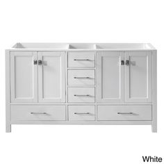 single sink double vanity. The Caroline Avenue 60 inch double sink vanity set is equipped with four  soft closing White Shaker 42 Inch Single Sink Bathroom Vanity Cabinet