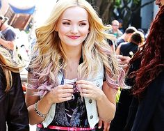 I love her strips of pink hair