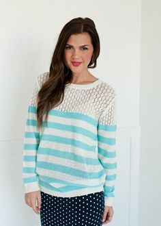 Blue and Ivory Striped Knit Sweater