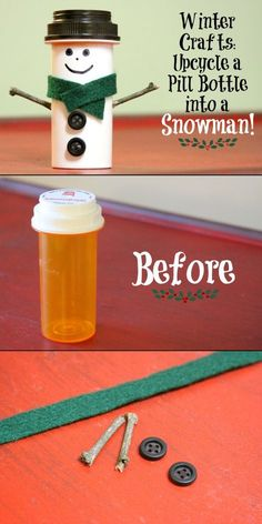 DIY Upcycle a Pill Bottle into a Snowman. This is adorable! How fun to fill it with little chocolate snowmen for a sweet gift!