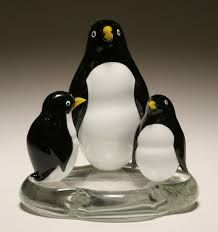 Elio Raffaeli Murano glass penguin figural sculpture