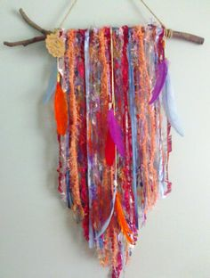 Loving the bright colours in this wall hanging I made recently. It's for sale here: https://www.etsy.com/au/listing/241530207/wall-hanging-hanging-mobile-dream?ref=shop_home_active_26