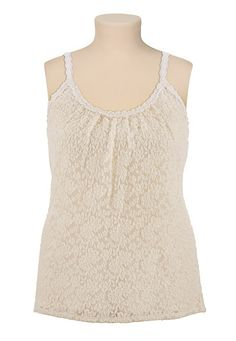 Crochet Trim Lace Tank available at #Maurices