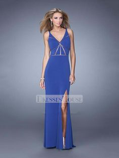 Sheath Straps High Slit Hollow Out Chiffon Prom Dress PD11986