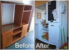 Play Kitchen from Re-Purposed Entertainment center from life:styled love the phone on the outside!