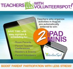 """Here's a great opportunity for teachers going """"back to school""""!  Teachers! WIN 2 iPad Minis from VolunteerSpot! FREE online signups & scheduling make it fast & soo easy to coordinate parents for classroom help & parent-teacher conferences! Click Here > http://volunteerspot.com/gts"""