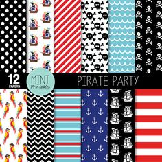 The Pirate Party Digital Paper Pack contains 12 high quality digital sheets. Each design is supplied as a 12inch x 12inch jpg and png file. All files are 300dpi and will have no watermarks. These papers are great for scrapbooking, creating printed paper items, invitations, cards, stationary, website designs, blog designs, party printables, tags and much much more! See where your imagination takes you.... Matching clipart set available here…