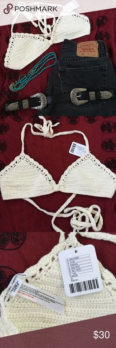 NWT Crochet Festival Bralette Never been worn! Love the look but it didn't fit me right. Pair with some cowboy boots, distressed denim & turquoise jewelry and you're ready for Stagecoach! Urban Outfitters Intimates & Sleepwear Bras