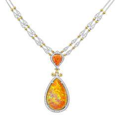 Centurion Design Awards 2014 - Spark Creations opal necklace. Spark Creations • 38.30-carat Ethiopian opal, 9.79-carat spessartite garnet, and diamond necklace