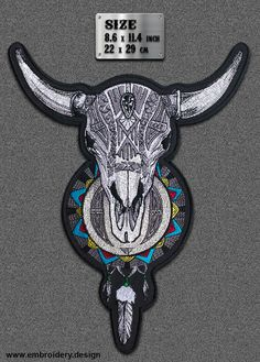 Large Patch Horned Skull with Dreamcatcher IRON ON by EmbroSoft