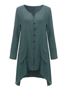 Mori Girls Irregular Hem Pankou Long Sleeve Linen Cardigan For Women