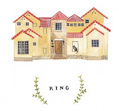 Custom house Illustrations from artist Rebekka Seale (check her out on etsy). I'd love to get one done of my first home since I've always moved around so much in my life.