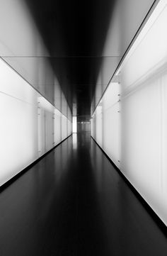 "*very modern ""gallery"" feel. Gives a sense of upscale and classy ambiance. black and white floor wall hallway architecture interior Detail Architecture, Space Architecture, Inspiration Design, Light And Space, Light And Shadow, Lighting Design, Bauhaus, Black And White, Interior Design"